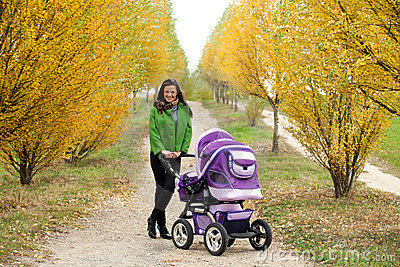 Young mother with stroller