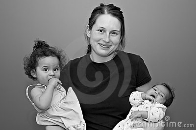 Young Mother of Two with her hands full
