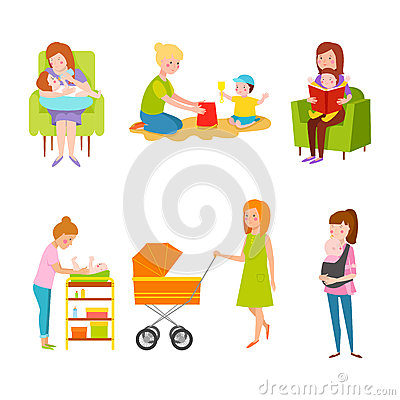 Young mother vector characters. Vector Illustration