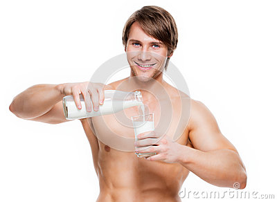 Muscular guy pours milk cums gay they took 7
