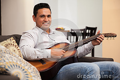 Young musician at home
