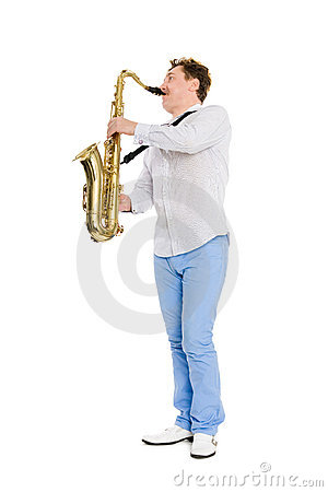 Young musician plays the saxophone