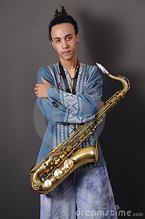 Free Young Musician With Saxophone Royalty Free Stock Photography - 5708727