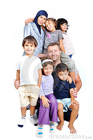Young muslim family with many members isolated