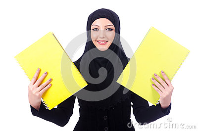 Young muslim woman with book