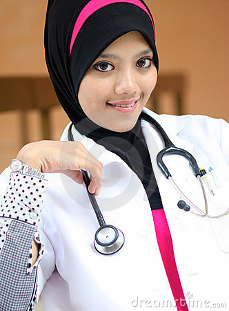 A young muslim woman doctor