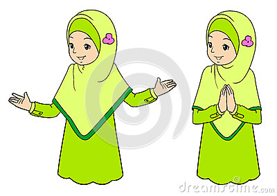 Young muslim woman with facial expressions Vector Illustration