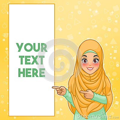 Muslim woman pointing finger to the right side at copy space Vector Illustration