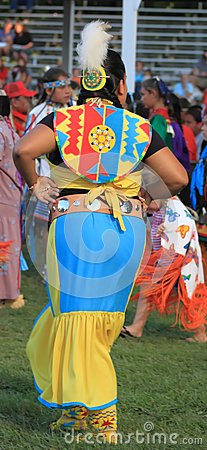Young Native American woman dancing in regalia Editorial Stock Image