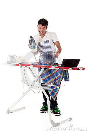 Young Nepalese man, on-line ironing lessons