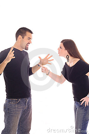 Young newlywed couple fighting