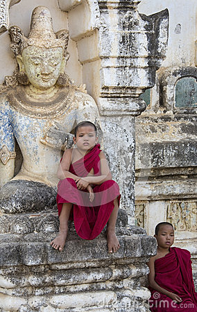 Bagan - Novice Monks - Myanmar (Burma) Editorial Image