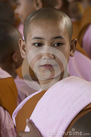 Young Novice Nun - Bago - Myanmar (Burma) Editorial Photography