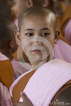 Young Novice Nun - Bago - Myanmar (Burma) Editorial Photography
