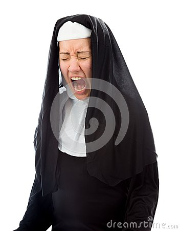 Young nun looking frustrated and shouting