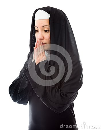 Young nun thinking