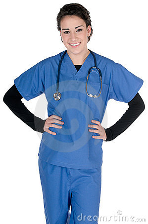 Young nurse, blue scrubs and stethoscope, isolated