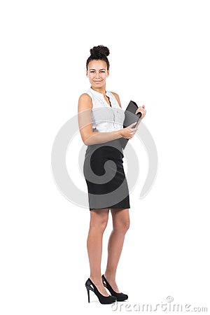 Young office worker holds a file