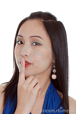 Free Young Oriental Woman Tell You To Be Quiet Stock Photo - 6842870