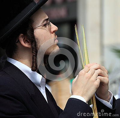 The young Orthodox Jew  before the Sukkot Editorial Stock Photo