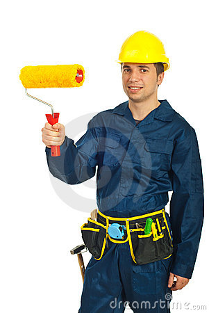 Young Painter Man Holding Paint Roller Royalty Free Stock Photography - Image: 18869137