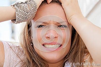Young panic woman