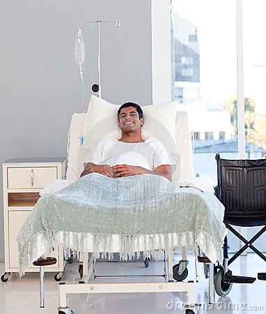 Young patient recovering in bed