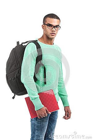 Free Young Pensive Student Carrying Bag. Royalty Free Stock Images - 43509579