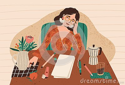 Young pensive woman sitting at desk with clean sheet of paper in front of her. Concept of writer`s block, fear of blank Vector Illustration