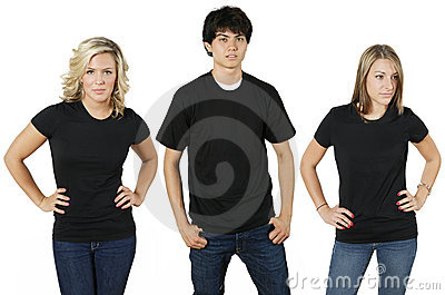 Young people with blank shirts