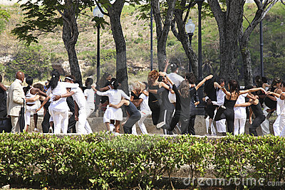 Young people dancing in a park in Havanna, Cuba Editorial Photography