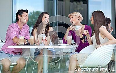 Young people enjoying coffee