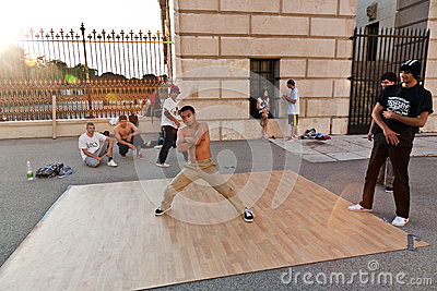 Young people have fun by break Editorial Stock Photo