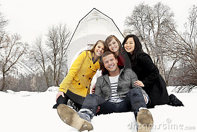 Young People Having Fun in Winter