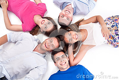 Young people lying down around