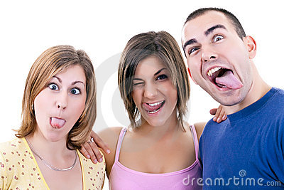 Young people making silly faces