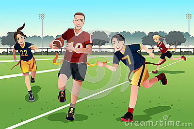 Young people playing flag football