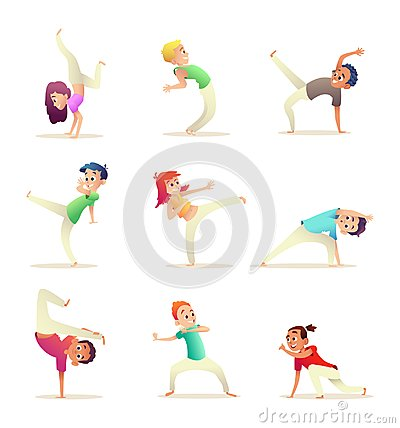 Young people practice capoeira movement. Kids doing different combat elements of martial arts. Cartoon design character Vector Illustration