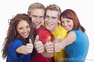 Young people showing thumbs up