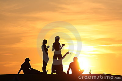young people at sunset