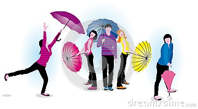 Young people with umbrellas