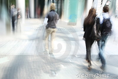 Young people walking in the city