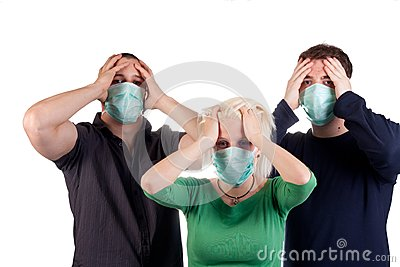 Young people wearing flu masks
