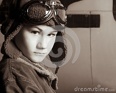 Young Pilot with flight goggles