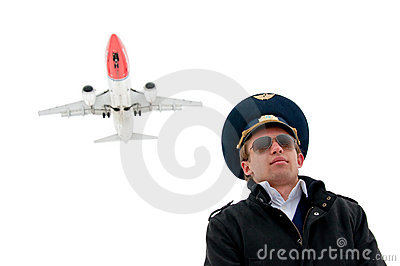 Young pilot in glasses isolated with copyspace