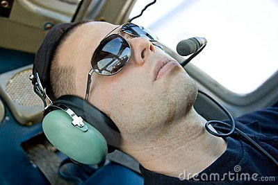 Young Pilot with Headset on