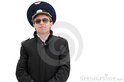 Young pilot isolated with copyspace