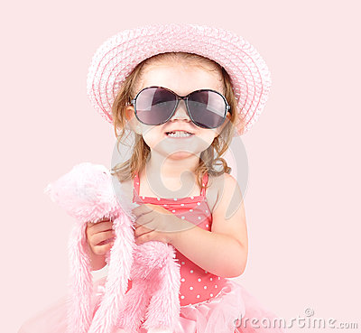 Free Young Pink Princess Child With Sunglasses Stock Photography - 26223022