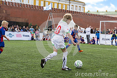 Young players are playing soccer Editorial Photography