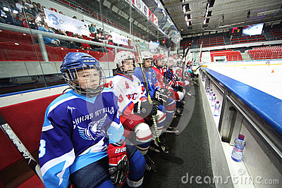 Young players watching on closing ceremony of the championship Editorial Stock Photo